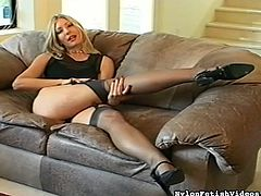 Superb blonde in sexy lingerie likes showing off while deep masturbating her juicy cunt