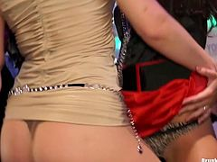 Hot blooded white whores kneel down in front of aroused dudes to mouth fuck their hard cocks in sizzling hot group sex video by Tainster.