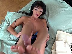 Gosh, this pale slender and seductive brunette is surely sex expert. Appetizing chick with sweet boobs and smooth ass is a great pro in giving a tender footjob as a kind of foreplay before a tough fuck. You surely need to check out this nympho in DDF Network sex clip to jerk off and jizz straight away.