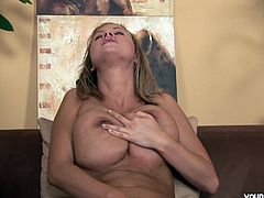 Alice is blond girl with fresh sexy body. She has got gorgeous big bust she is proud of. Alice demonstrates her goodies in Young Busty sex video.