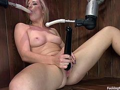 Sex hungry blonde chicks has some fun in the sauna. She sucks dildos and gets her tits toyed with vibrators. She also gets her ass and pussy toyed by a machine.