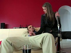 She takes out his cock from his pants and swallows it. The deep of her throat is amazing as well as her perfect sucking skills.