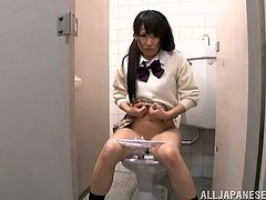 Kinky Japanese student is crying in a toilet. Some guys enters the room, comforts the girl and then pounds her juicy twat from behind.