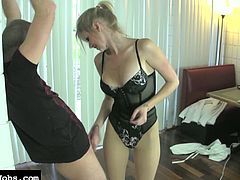 Hot blonde likes dominating and teasing her guy in nasty femdom porn session