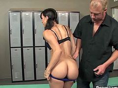 Salacious brunette cutie Kirra Lynne is a fan of deepthroating. She sucks her trainer's cock balls deep with ease. She gets fucked doggystyle and rides that prick on top before taking pussy creampie.