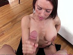 Busty brunette milf J Love shows her astonishing natural tits to some guy. Then she gets on her knees in front of him and admires the man with her terrific cock-sucking abilities.