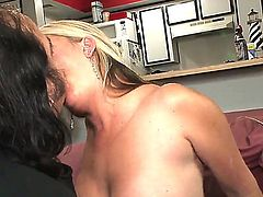 Ron Jeremy plows a gorgeous busty MILF Joclyn Stone she likes it in hard and deep.