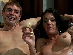 This guy really love to have sex with sexy shemales. He gets his dick sucked and after that he gets his ass drilled.