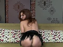 Sabrina Maree with huge melons and smooth cunt fucking herself with toy