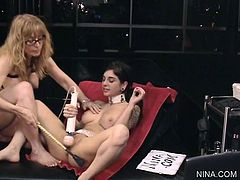 Hot milf Nina Hartley likes dominating young babe in sexy and hot femdom porn scene