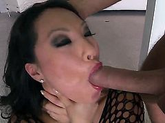 One of the hottest and horniest Asian pornstars - Asa Akira gets fucked in her gentle throat by Keiran Lees powerful dick. She looks amazing in sexy fishnet dress!