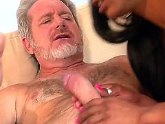 Extremely hot, tattoed brunette Ebony Porscha Carrera seduces her white mature stepdaddy