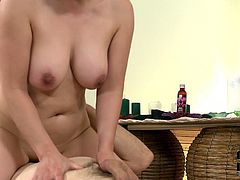 Busty Asian massage therapist gives hot blowjob in 69 position