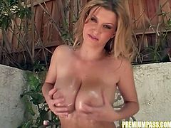 Feeling warm jizz filling her mouth and tits makes hot babe to get wild