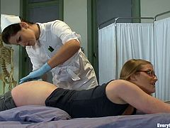 Nerdy blonde Ivy Mokhov comes to a hospital ward and lets hot nurse Bobbi Star stuff her tight asshole with an enema.