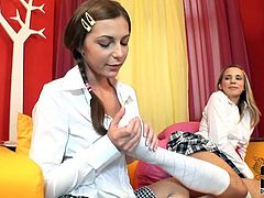Dude, don't pass by this dick hardening DDF Network sex clip. Zealous light haired gals in college uniform are fed up with studying. Wondrous lesbos unbuttons white blouse, pull up short skirt and