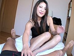 Oriental cutie with charming eyes Saya blows cock in POV