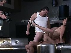 Today this horny Latina bitch Samia Duarte seduces two dudes to have sex with her. They cant be against of drilling loving holes of the naughty and so sexual babe.
