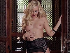 Sexy hot blondie in fishnet stuff Aaliyah Love is ready to masturbate