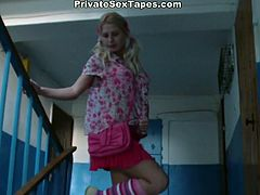 This slutty slim blondie meets her boyfriend and invites him for tea. But this gal with droopy tits actually needs to be fucked from behind as tough as possible. Dirty harlot in pink stockings has a strong desire to fill her mouth full with sperm and gives a super solid blowjob right in her bedroom.