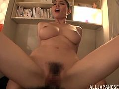 What a gorgeous and charming girl Miku Sunohara is! She gets down on that hard penis and then it gives her some stunning moments, as she rides it!