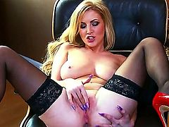 Curvy blonde bombshell Georgie Lyall with huge juicy hooters and long whorish nails in lingerie gets horny and stretches her hairless fish lips to warm orgasm in close up.