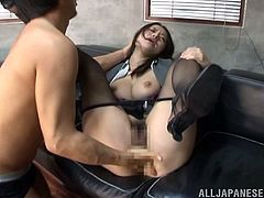 There's hot hardcore sex in the office with the naughty Japanese girl Kaede Niiyama who enjoys giving head and getting laid with her formal outfit.