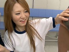 Playful Asian chic stays in the locker room along with her groupmates. She gives them double blowjob before she sits with legs spread aside to get her beaver finger fucked in sultry MMF sex video by Jav HD.