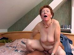 Watch this hot video where a horny redhead granny has her wrinkled pussy drilled by a hard cock as you hear her moan.
