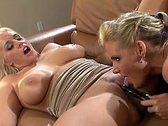 Busty blondes are having intense pleasure deep stimulating one another's cunts