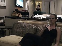 Interested in taking a look at Sandy and Cameron Cruz spending time in Las Vegas Watch girls washing and changing clothes before the camera before go to party.