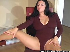 Superb brunette with big tits loves showing her hairy cunt in superb solo action