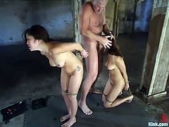 Two sizzling and lusty sirens Annie Cruz and her Asian friend get naked with Mark Davis. He ties them up and starts fucking their pussies, making them sore with twitches!