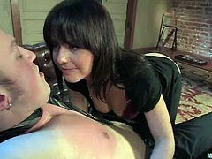 Nipple Torture and Strapon Fucking in Femdom Pegging Vid with Penny Flame