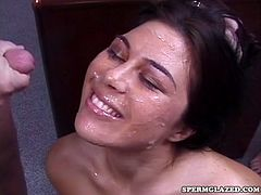 Hot babe gets filled with cum during naughty hardcore group sex session