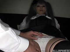 This Japanese girl plays a role of a doll, literally. They guy pulls her out of the box and then puts on a bed. After that he fucks her in doggystyle and missionary positions.