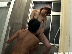 She is obeying orders and taking her blindfolded patient for a bath. He is already naked and the nurse is undressing also, when he removes his band over his eyes. He can't stop himself from sucking this bitch's hard nipples and hairy pussy. Then she repays him with a mouthful blowjob, by going to her knees.