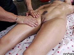 Amber has a key hole tattooed above her pussy, well she's a porn star and has some sense! All that hard working made her pussy stressed so she pays a visit to the spa where a skilled masseur awaits her. The brunette babe lays on her back and enjoys a nice massage and a deep pussy fingering with licking.