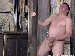 Check out this sexy euro daddy in his sexy underwear. He takes it off and starts rubbing his cock for a nice cumshot!