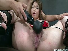 Curvy Japanese hussy in seductive latex lingerie gets bandaged with eyes covered with blindfold while getting her hairy snatch fingered and later teased with vibrator in sultry sex video by Jav HD.