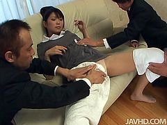 Fresh faced Japanese amateur gets lured by two kinky daddies. They tease her aroused vagina with sex toys through panties before taking them off to poke her beaver with dildo in steamy MMF sex clip by Jav HD.