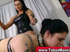 Check out these horny lesbian sluts playing again their roles. The slave got her pussy punished by her master! She does whatever she wants!