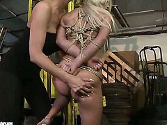 Blonde babe Mandy Bright and Bianka Lovely get satisfaction in steamy girl-on-girl action