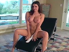 Sweet babe with big tits enjoys teasing while masturbating her wet pussy