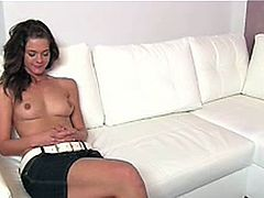 FakeAgent Shy brunette plays hard to get in casting 1