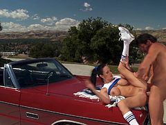 Sexy cheerleader Alektra Blue enjoys hard cock sliding her fresh pussy