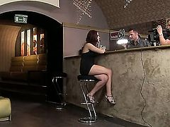 Redhead doll Angel Rivas with natural perky boobs and long whorish nails gets naked while teasing turned on studs and gets her holes banged hard all over the bar.