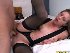 This jaw-dropping hottie is an experienced woman when it comes to pleasing men. She gives her lover the bets blowjob of his life and then he fucks her in missionary position.