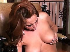 Extremely hot chick with nice boobs and long legs stays in nylons and high heels. She takes her favorite pink dildo and starts stimusexy sweet pussy by it so well.