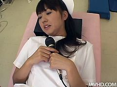Cuddly Japanese cutie gets lured by horny gynecologist during an interview. He puts her on gynecological chair while widening her pussy with speculum before he starts teasing her brownish nipples with fingers.
